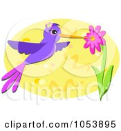 Royalty Free Vector Clip Art Illustration Of A Humming Bird Getting Nectar From A Flower