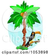 Royalty Free Vector Clip Art Illustration Of A Toucan In A Palm Tree by bpearth