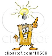 Clipart Picture Of A Yellow Admission Ticket Mascot Cartoon Character With A Bright Idea