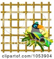 Royalty Free Vector Clip Art Illustration Of A Toucan Over Bamboo Lattice by bpearth