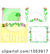 Digital Collage Of Tropical Flower Frames