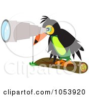 Royalty Free Vector Clip Art Illustration Of A Toucan Using A Telescope by bpearth