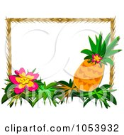 Royalty Free Vector Clip Art Illustration Of A Tropical Flower And Pineapple Frame by bpearth #COLLC1053932-0062