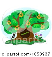 Royalty Free Vector Clip Art Illustration Of A Bird By A Prosperity Money Tree by bpearth