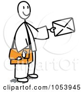 Royalty Free Vector Clip Art Illustration Of A Stick Mail Man Holding A Letter