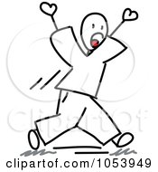 Royalty Free Vector Clip Art Illustration Of A Stick Man Walking And Yelling by Frog974 #COLLC1053949-0066