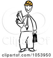 Royalty Free Vector Clip Art Illustration Of A Stick Man Architect