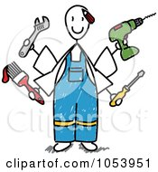 Royalty Free Vector Clip Art Illustration Of A Stick Handy Man