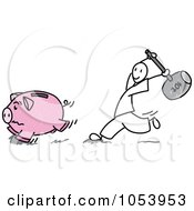 Royalty Free Vector Clip Art Illustration Of A Stick Man Chasing A Piggy Bank by Frog974