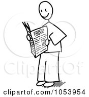 Royalty Free Vector Clip Art Illustration Of A Stick Man Reading A Newspaper by Frog974