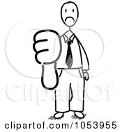 Royalty Free Vector Clip Art Illustration Of A Stick Businessman Holding A Thumb Down by Frog974