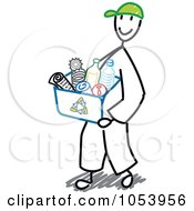 Royalty Free Vector Clip Art Illustration Of A Stick Man Recycling by Frog974