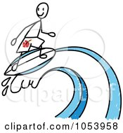 Royalty Free Vector Clip Art Illustration Of A Stick Man Surfing by Frog974 #COLLC1053958-0066