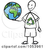 Royalty Free Vector Clip Art Illustration Of A Stick Man Holding A Globe by Frog974