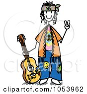Royalty-Free Vector Clip Art Illustration of a Stick Hippie Man by Frog974