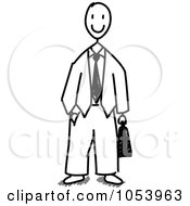Royalty Free Vector Clip Art Illustration Of A Stick Business Man by Frog974