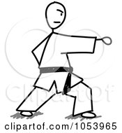 Royalty Free Vector Clip Art Illustration Of A Stick Man Doing Karate by Frog974 #COLLC1053965-0066