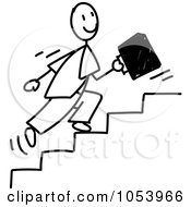 Royalty Free Vector Clip Art Illustration Of A Stick Businessman Running Up Stairs by Frog974