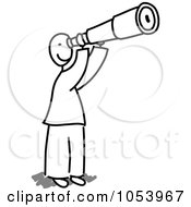 Royalty Free Vector Clip Art Illustration Of A Stick Man Using A Telescope by Frog974 #COLLC1053967-0066