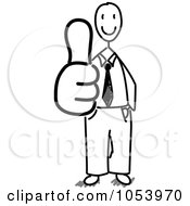 Royalty Free Vector Clip Art Illustration Of A Stick Businessman Holding A Thumb Up by Frog974