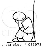 Royalty Free Vector Clip Art Illustration Of A Stick Man Crying by Frog974 #COLLC1053973-0066