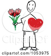 Royalty Free Vector Clip Art Illustration Of A Stick Man Holding Flowers And A Valentine by Frog974