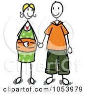 Royalty Free Vector Clip Art Illustration Of A Stick Man And Woman Holding Hands by Frog974 #COLLC1053979-0066
