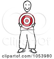 Royalty Free Vector Clip Art Illustration Of A Stick Man Holding A Target by Frog974 #COLLC1053980-0066