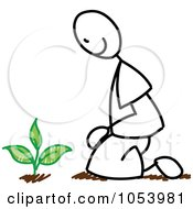 Royalty Free Vector Clip Art Illustration Of A Stick Gardening Man by Frog974 #COLLC1053981-0066