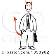 Royalty Free Vector Clip Art Illustration Of A Stick Devil Businessman by Frog974