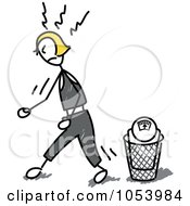 Royalty Free Vector Clip Art Illustration Of A Stick Woman Throwing Away A Scale by Frog974 #COLLC1053984-0066