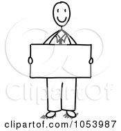 Stick Businessman Holding A Blank Sign