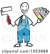 Royalty Free Vector Clip Art Illustration Of A Stick Man Painter
