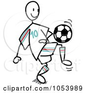 Royalty Free Vector Clip Art Illustration Of A Stick Soccer Man by Frog974 #COLLC1053989-0066