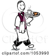Royalty Free Vector Clip Art Illustration Of A Stick Man Waiter