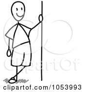 Stick Man Leaning Against A Sign