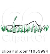 Royalty Free Vector Clip Art Illustration Of A Stick Man Laying In Grass by Frog974
