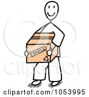 Stick Man Carrying A Fragile Box