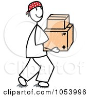 Royalty Free Vector Clip Art Illustration Of A Stick Man Carrying Boxes