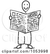 Stick Man Reading The News