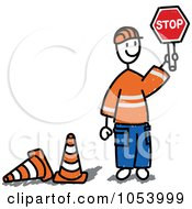 Stick Man Construction Worker Directing Traffic
