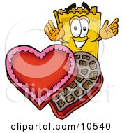 Yellow Admission Ticket Mascot Cartoon Character With An Open Box Of Valentines Day Chocolate Candies