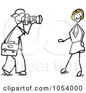 Royalty Free Vector Clip Art Illustration Of A Stick Man Photographer And Model