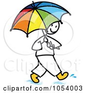 Stick Man Using An Umbrella