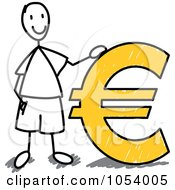 Royalty Free Vector Clip Art Illustration Of A Stick Man With A Euro Symbol by Frog974