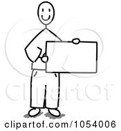 Grayscale Stick Man Holding A Blank Sign