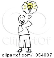 Royalty Free Vector Clip Art Illustration Of A Stick Man With An Idea by Frog974 #COLLC1054007-0066