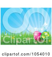 Royalty Free Vector Clip Art Illustration Of A Background Of Rays With Spring Flowers Butterflies And Easter Eggs by Pushkin