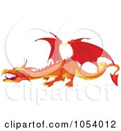 Royalty Free Vector Clip Art Illustration Of A Red And Orange Dragon by Pushkin