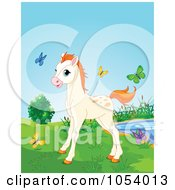 Royalty Free Vector Clip Art Illustration Of A Cute Horse Surrounded By Colorful Butterflies by Pushkin